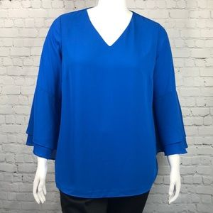 Alfani Blue Bell Sleeve V Neck Top Plus Size 16W